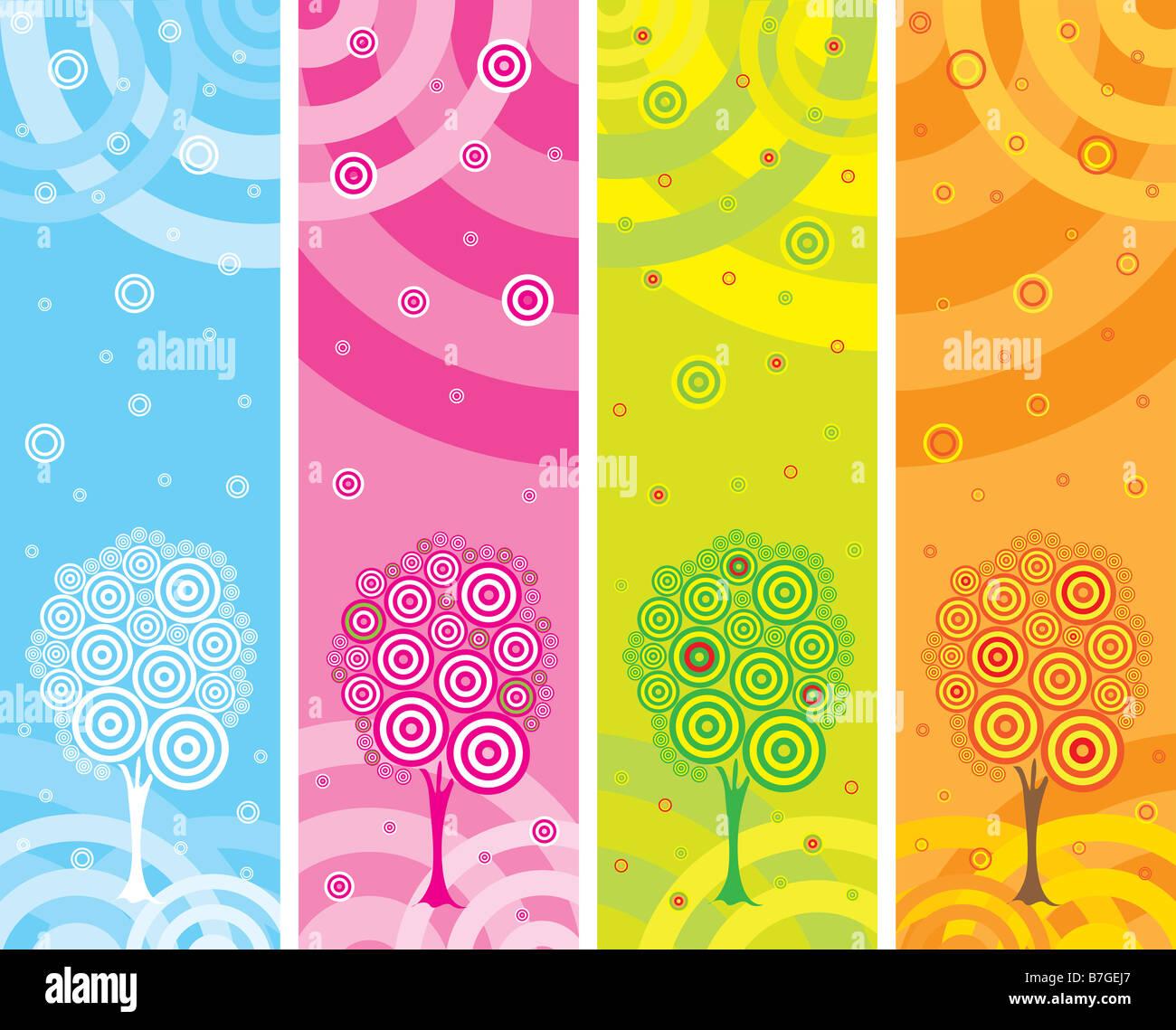 Illustrazione con quattro stagioni Immagini Stock