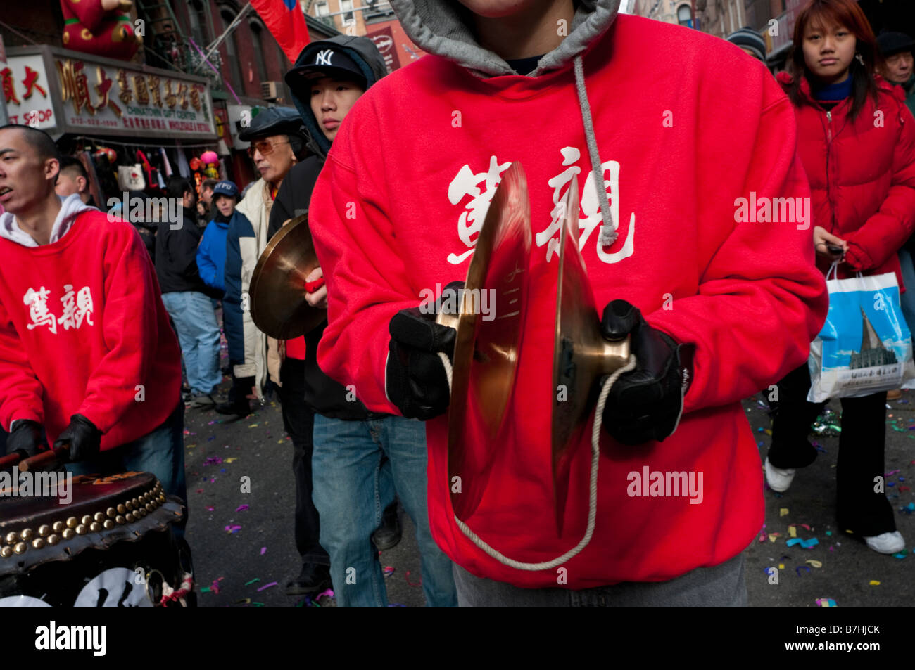 New York NY 26 gennaio 2009 Chinatown marchi comunitari il nuovo anno lunare con processioni attraverso Chinatown Immagini Stock