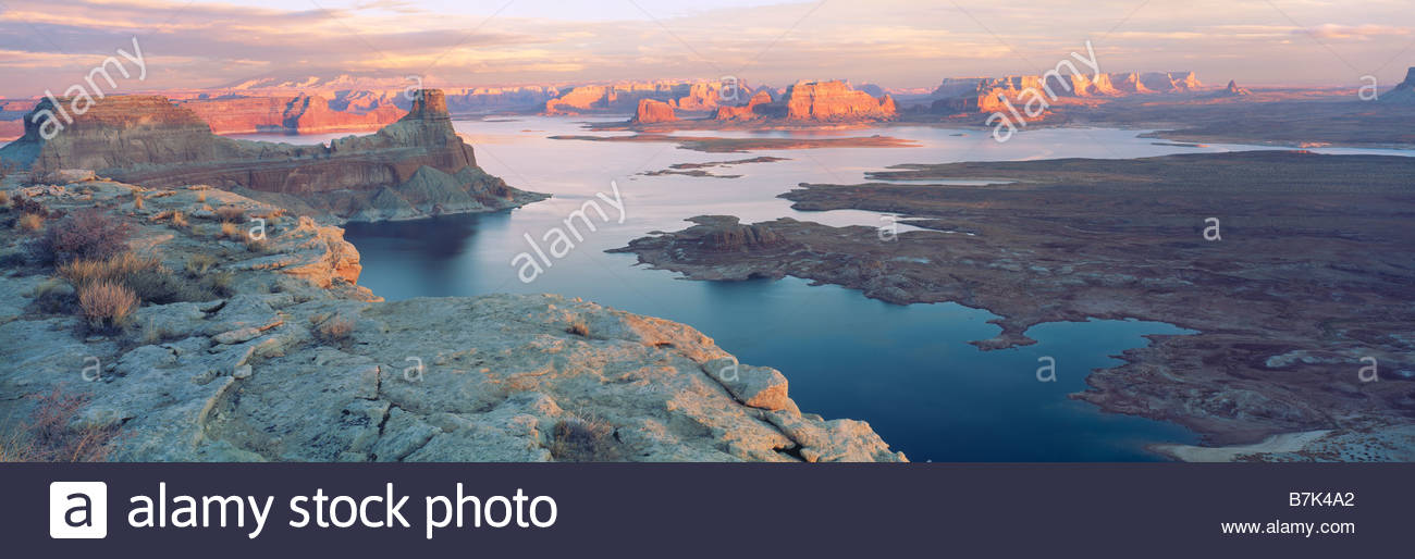 Padre Bay tramonto sul Lago Powell Glen Canyon National Recreation Area Utah e Arizona Immagini Stock