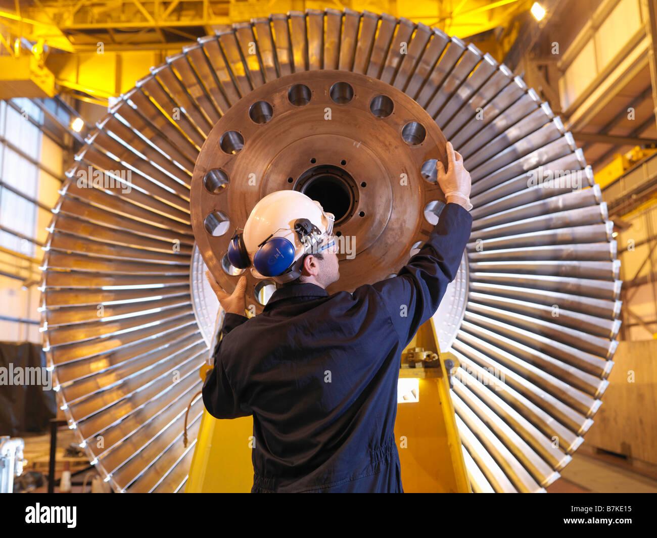 Ingegnere di turbina di ispezione Immagini Stock