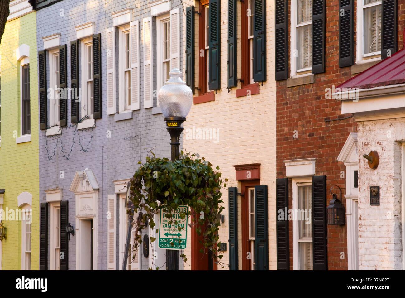 Architettura residenziale di Georgetown a Washington D.C. Immagini Stock