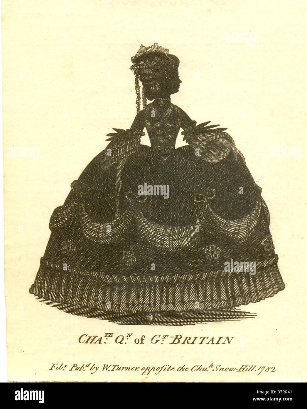 Silhouette di Queen Charlotte pubblicato 1782 Immagini Stock