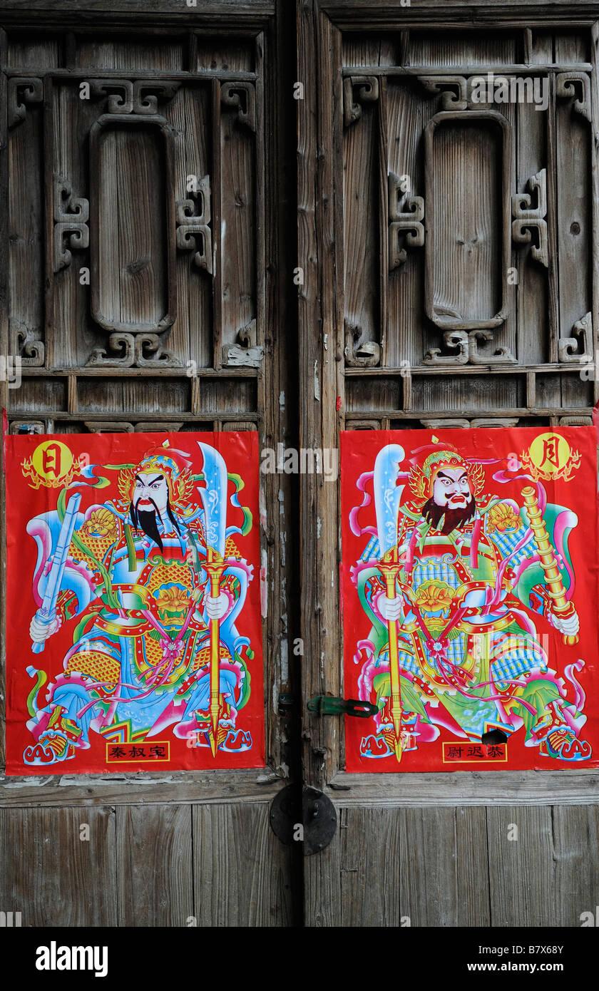 Porta Dio per il nuovo anno lunare cinese festival in una casa tradizionale Jiangxi, Cina. 02-Feb-2009 Immagini Stock