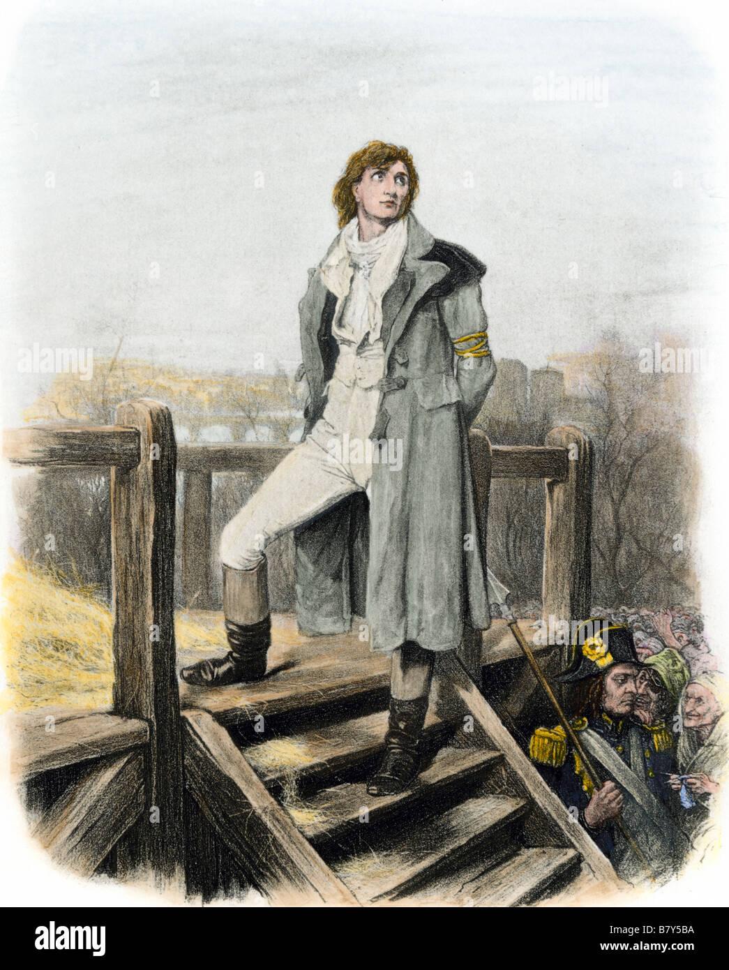 Scatola di cartone di Sydney a ghigliottina in Dickens' un racconto di due città. Colorate a mano fotoincisione Immagini Stock