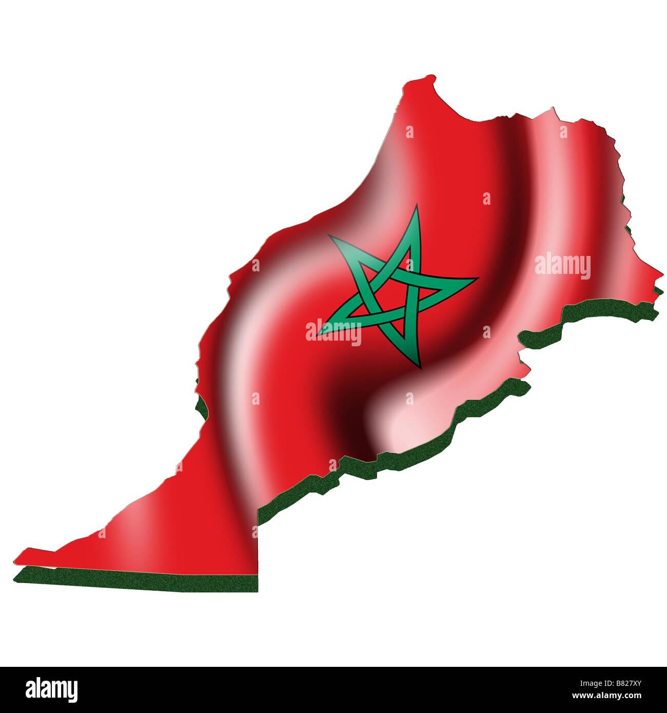 Cartina Fisica Del Marocco.Mappa Di Contorno E Bandiera Del Marocco Foto Stock Alamy