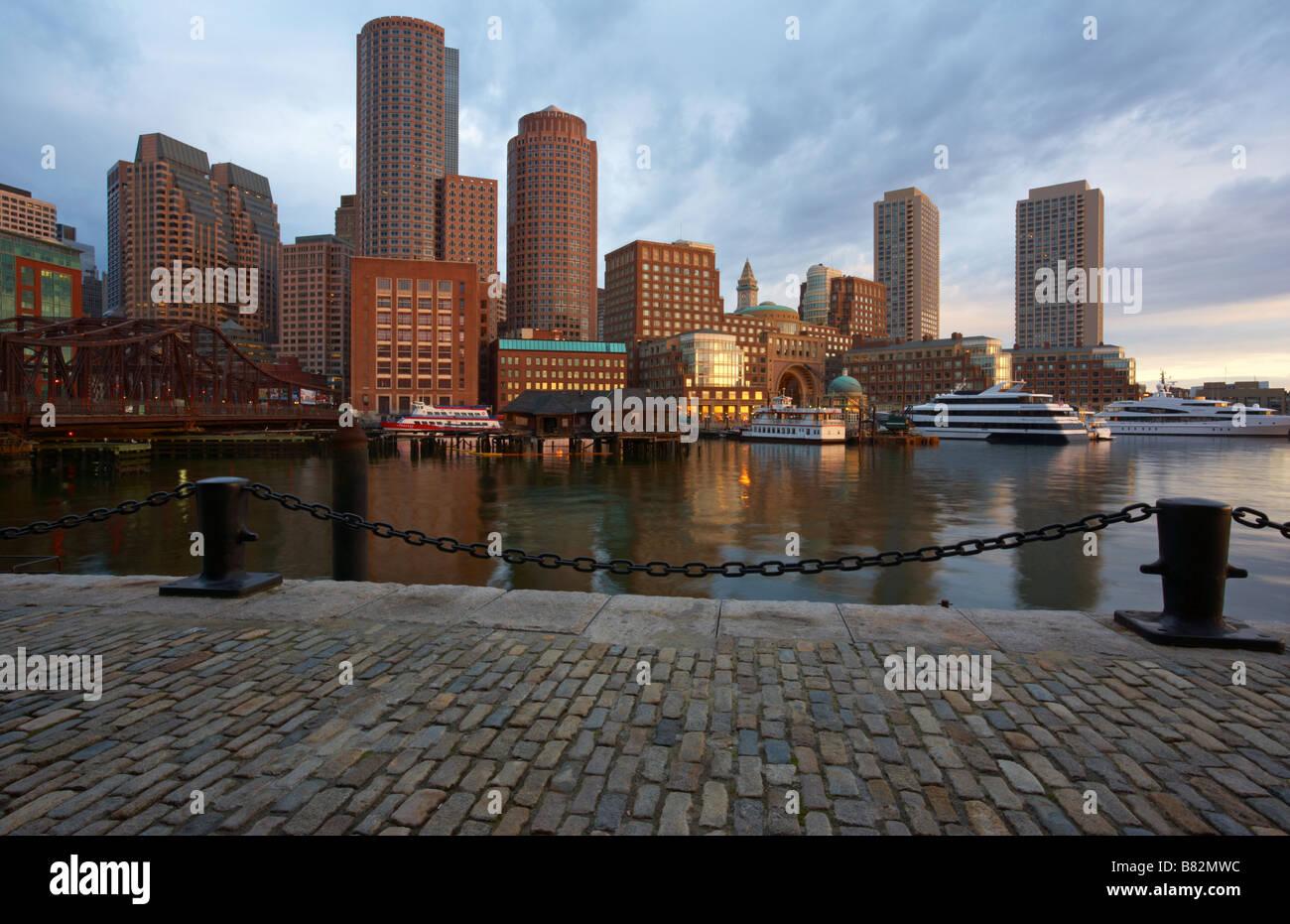 Una vista della città di Boston Immagini Stock