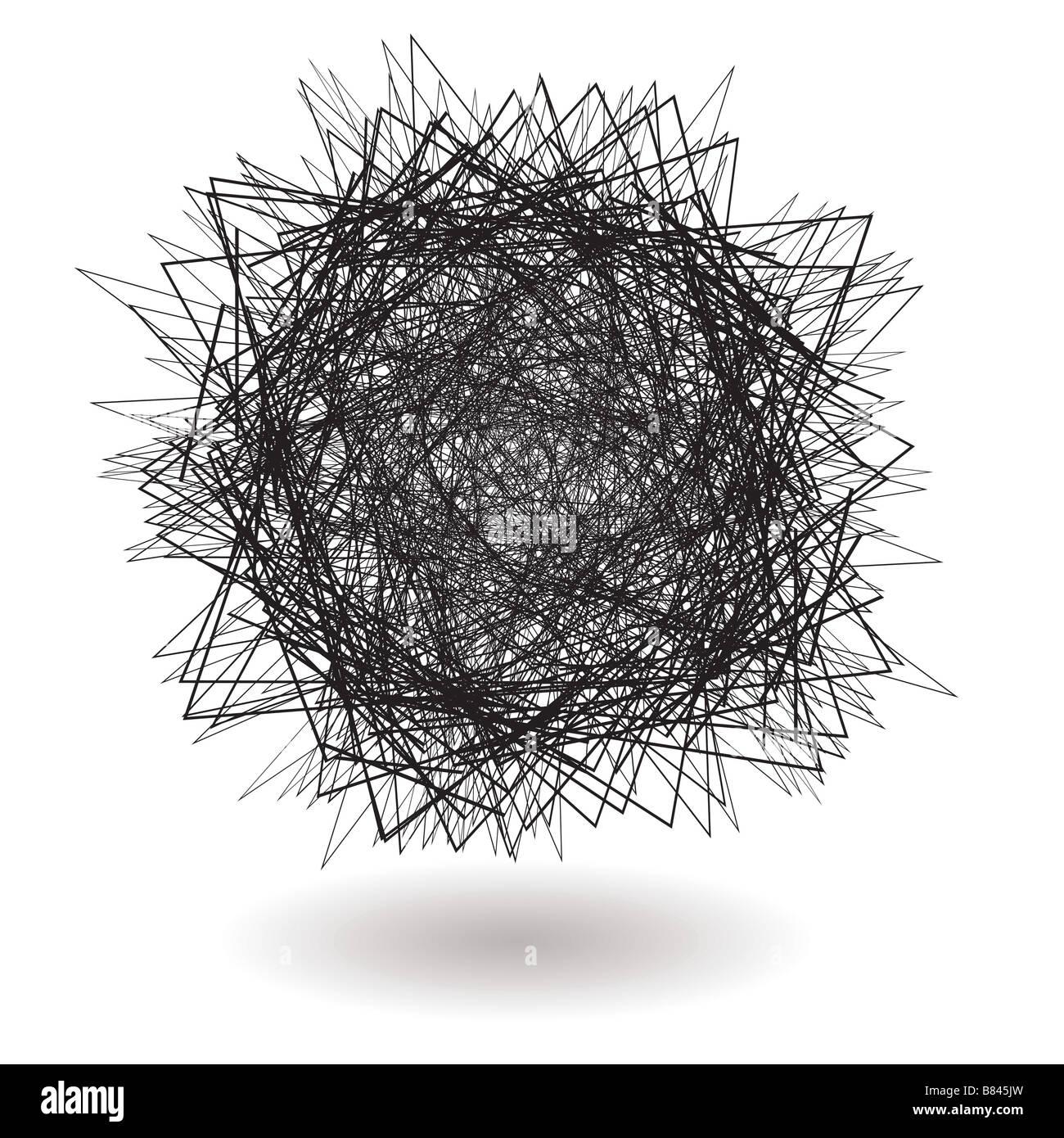 Arrabbiato scribble con linee nitide con ombra Immagini Stock