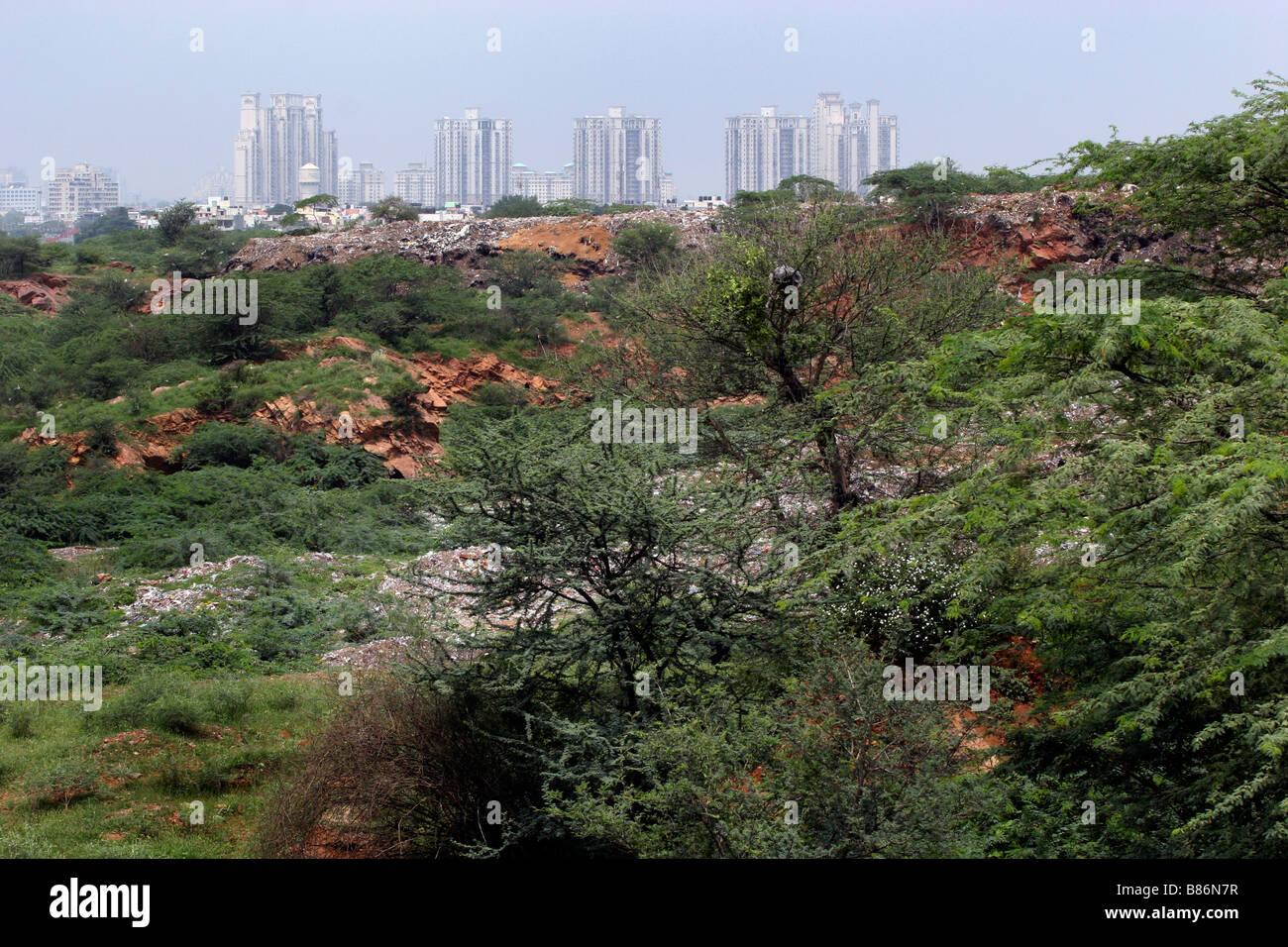 Residenziali eleganti edifici alti salire oltre il verde di Gurgaon in India Immagini Stock
