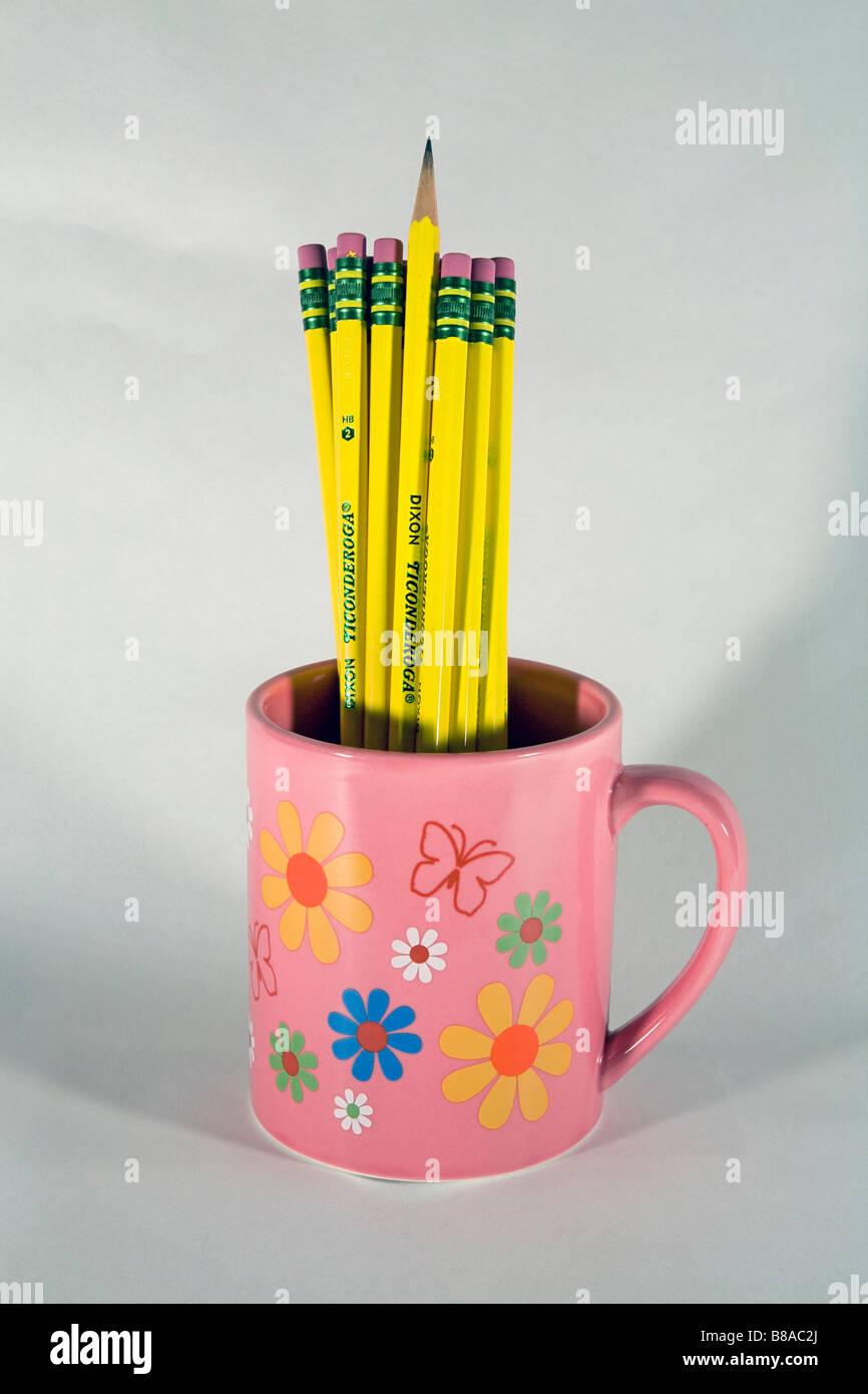 Una tazza o tazza alta di numero 2 Ticonderoga piombo o matite di grafite e cancellatori Immagini Stock