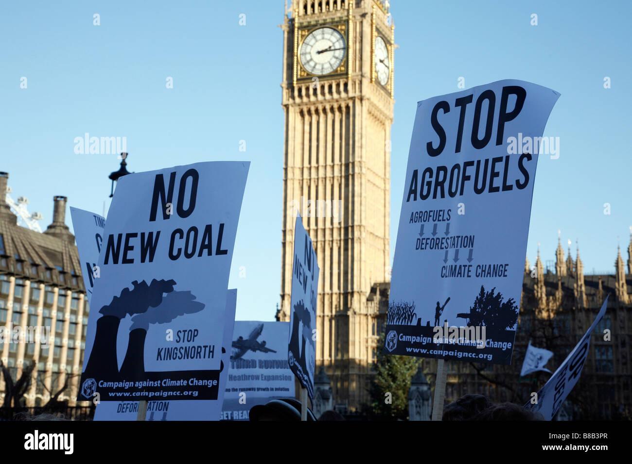 La campagna contro i cambiamenti climatici, Clima nazionale marzo a Londra il 6 dicembre 2008. Immagini Stock