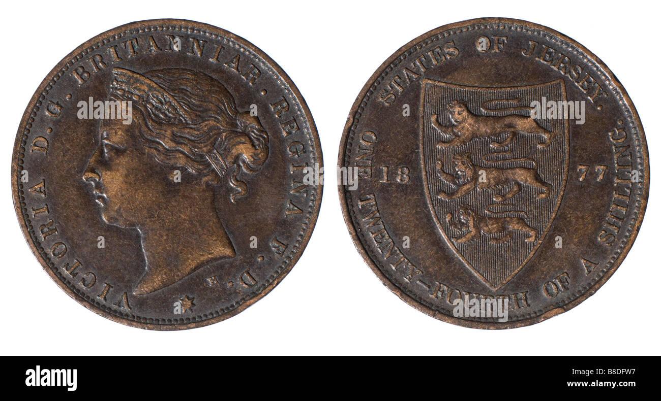 Coin Vittoriano, 1877. Membri di Jersey. Un ventiquattresimo di un danaro Immagini Stock