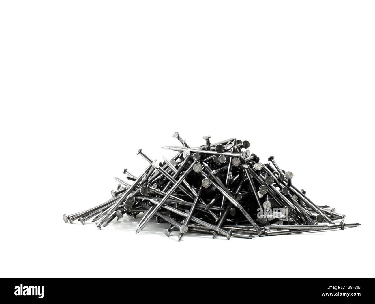 Pila di chiodi di costruzione Immagini Stock