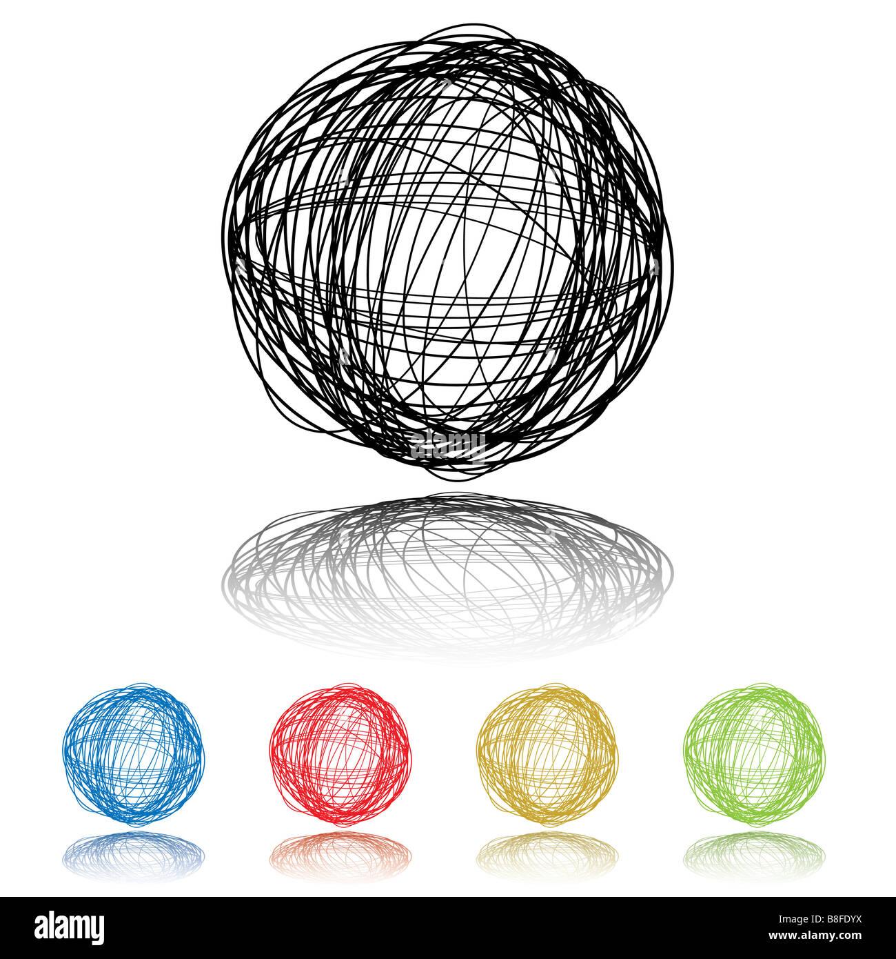 Scribble sfera con cinque varianti di colore e ombra sfumata Foto Stock