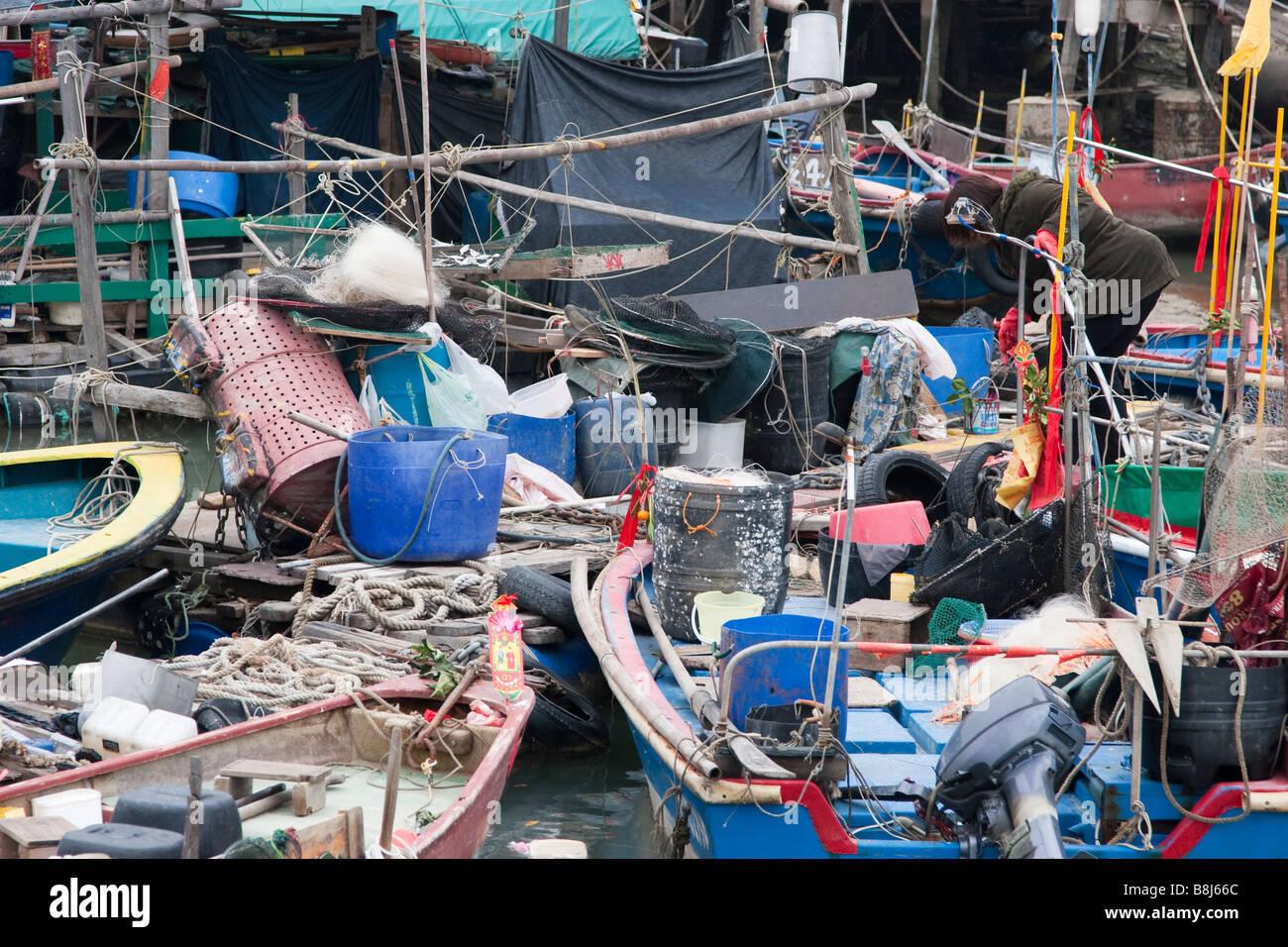 Caotica barche da pesca Immagini Stock
