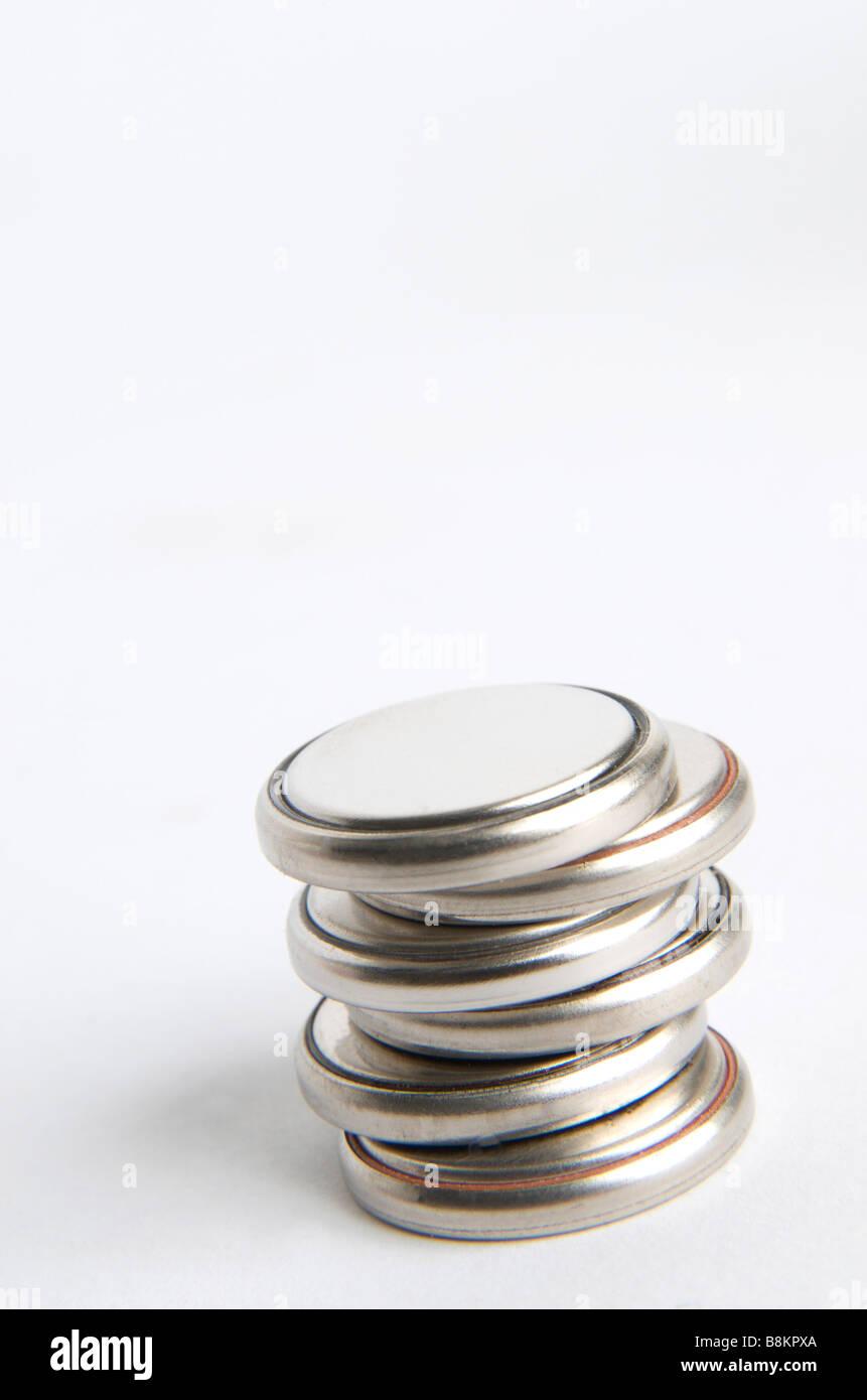Pile a bottone batterie Immagini Stock