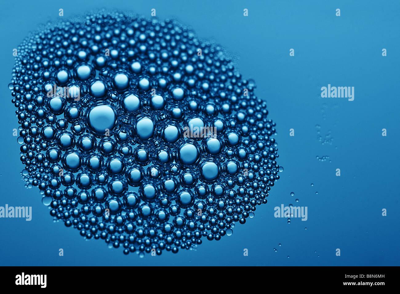 Bella vista dettagliata di bolle Foto Stock