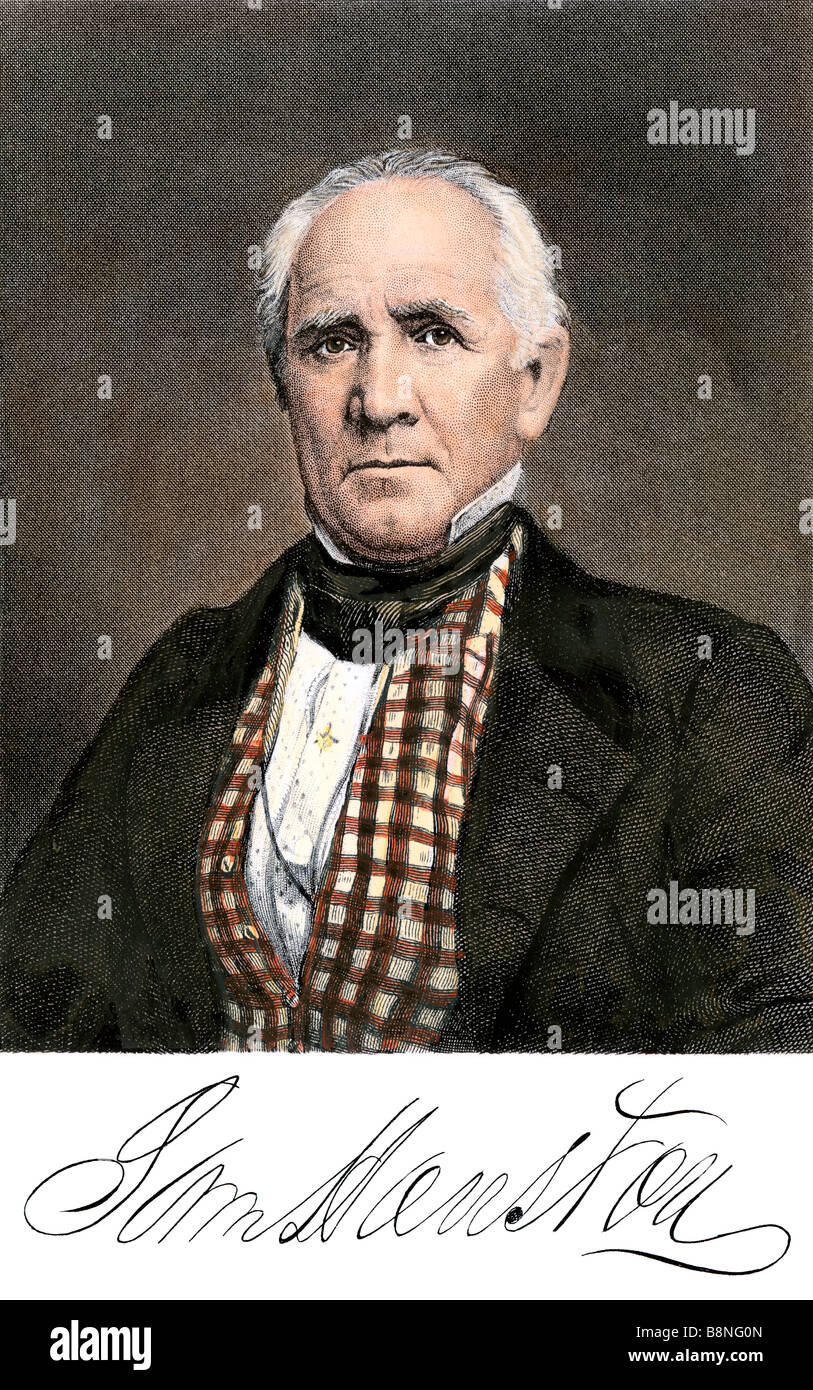 Sam Houston con il suo autografo. Colorate a mano la xilografia Immagini Stock