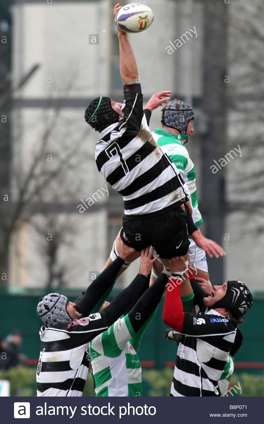 """Alberto saccardo 'treviso 06-01-2009 'rugby super 10 campionato 2008-2009""""Benetton Treviso-rugby roma Immagini Stock"""