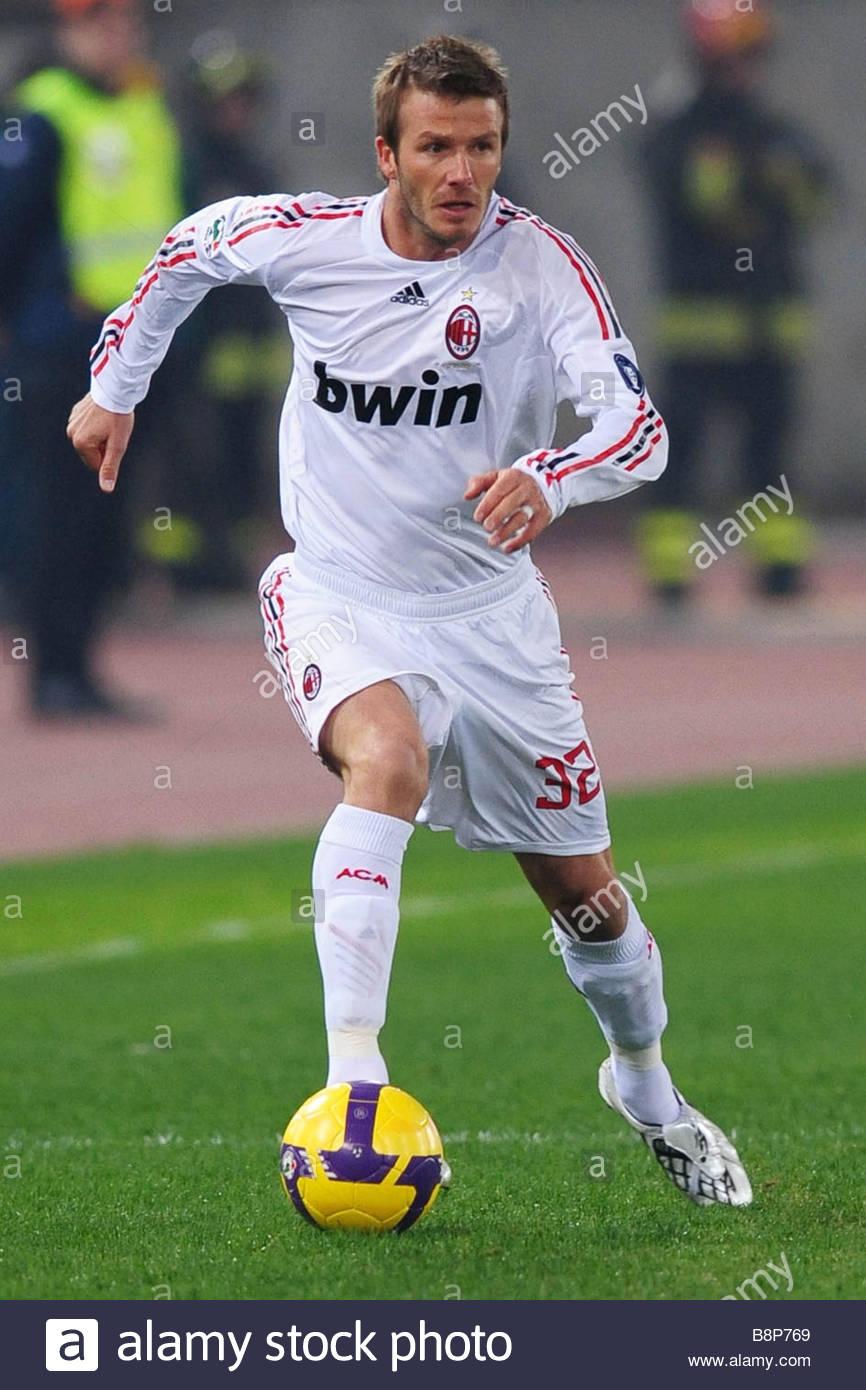 """David Beckham""""roma 11-01-2009'serie di un campionato di calcio 2008-2009""""roma-Milano 2-2 Immagini Stock"""