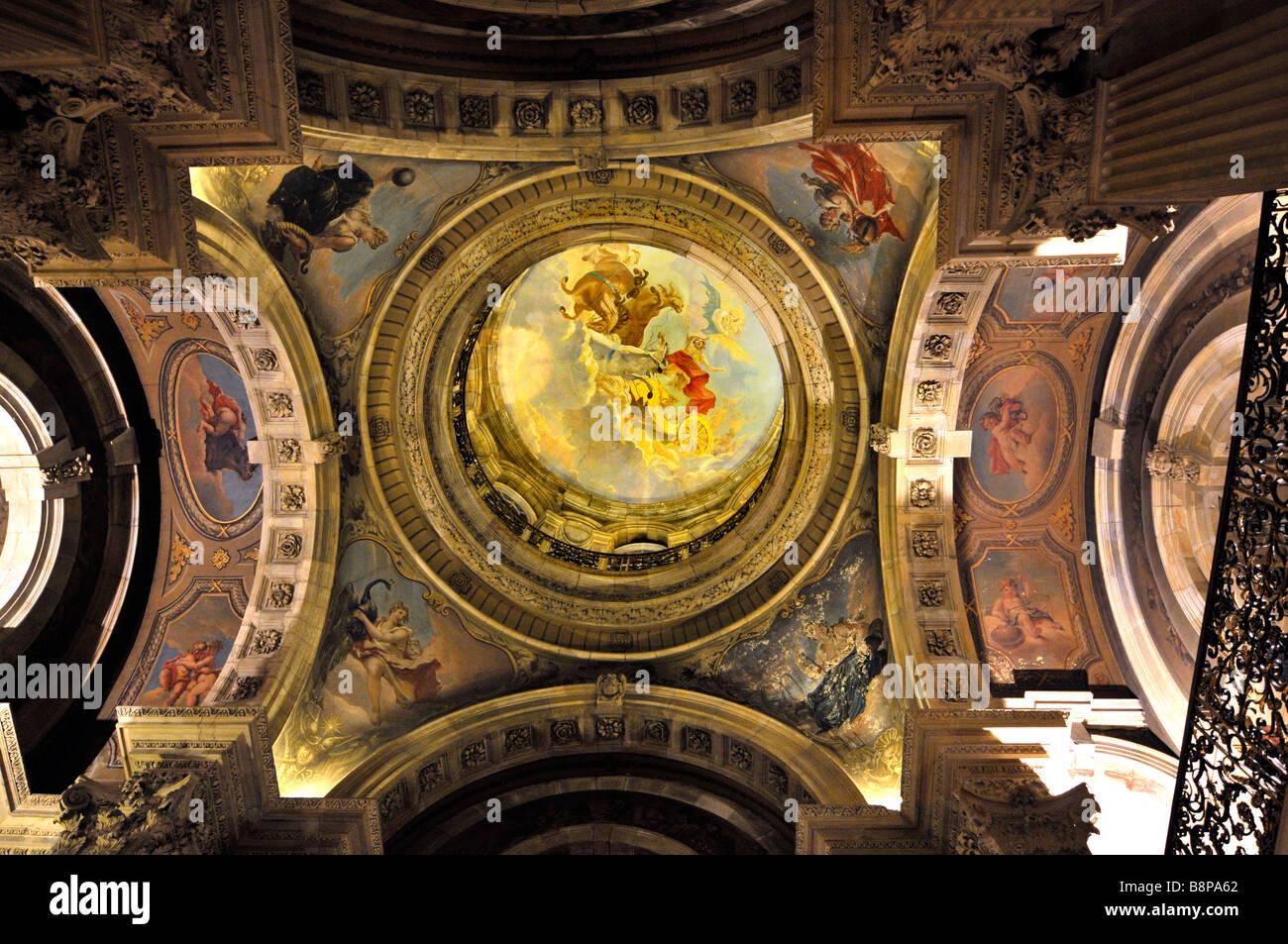 """Il soffitto della sala grande a """"Castle Howard"""" Yorkshire, Inghilterra, Regno Unito Immagini Stock"""
