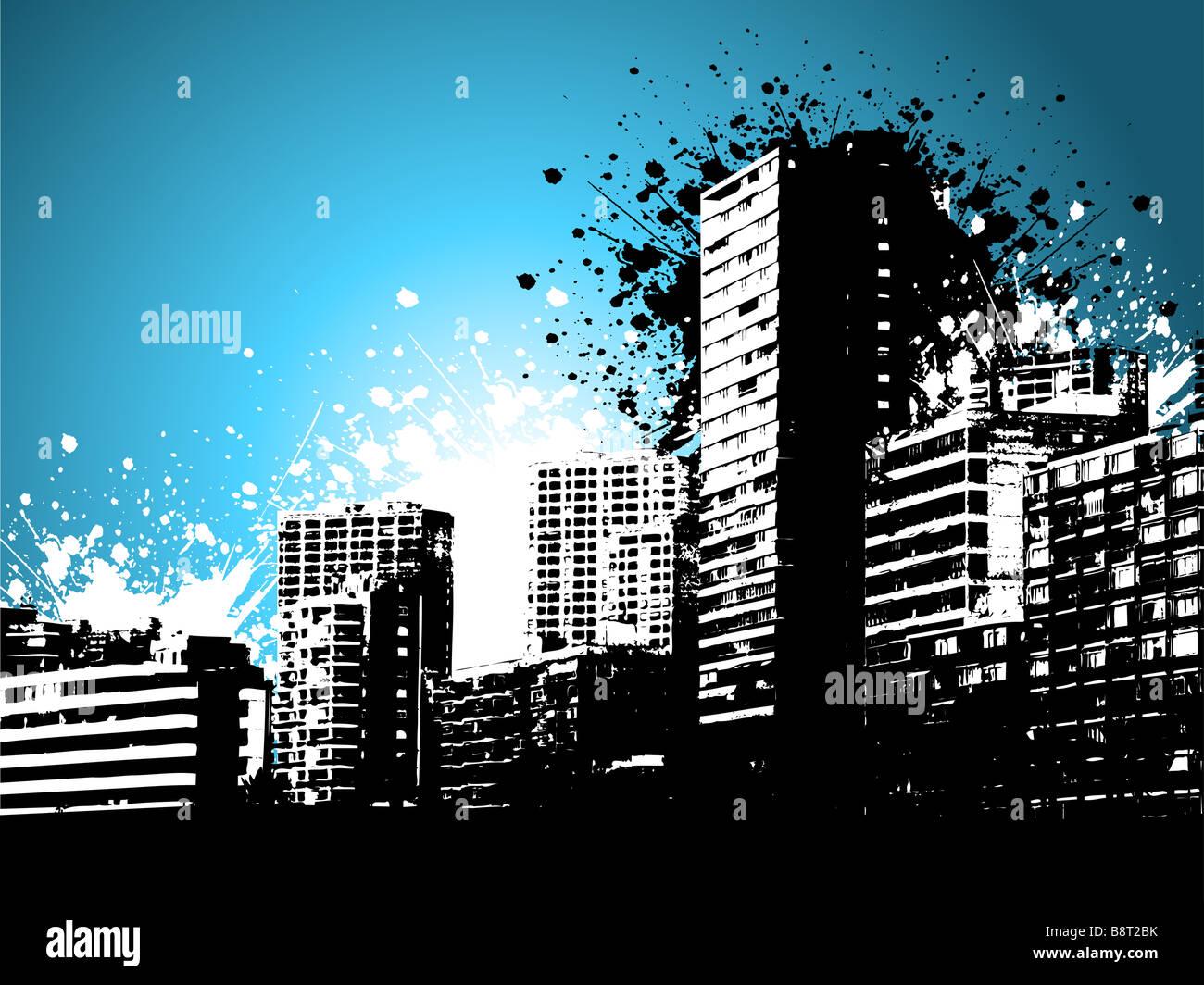 Skycrapers su uno stile grunge background Immagini Stock