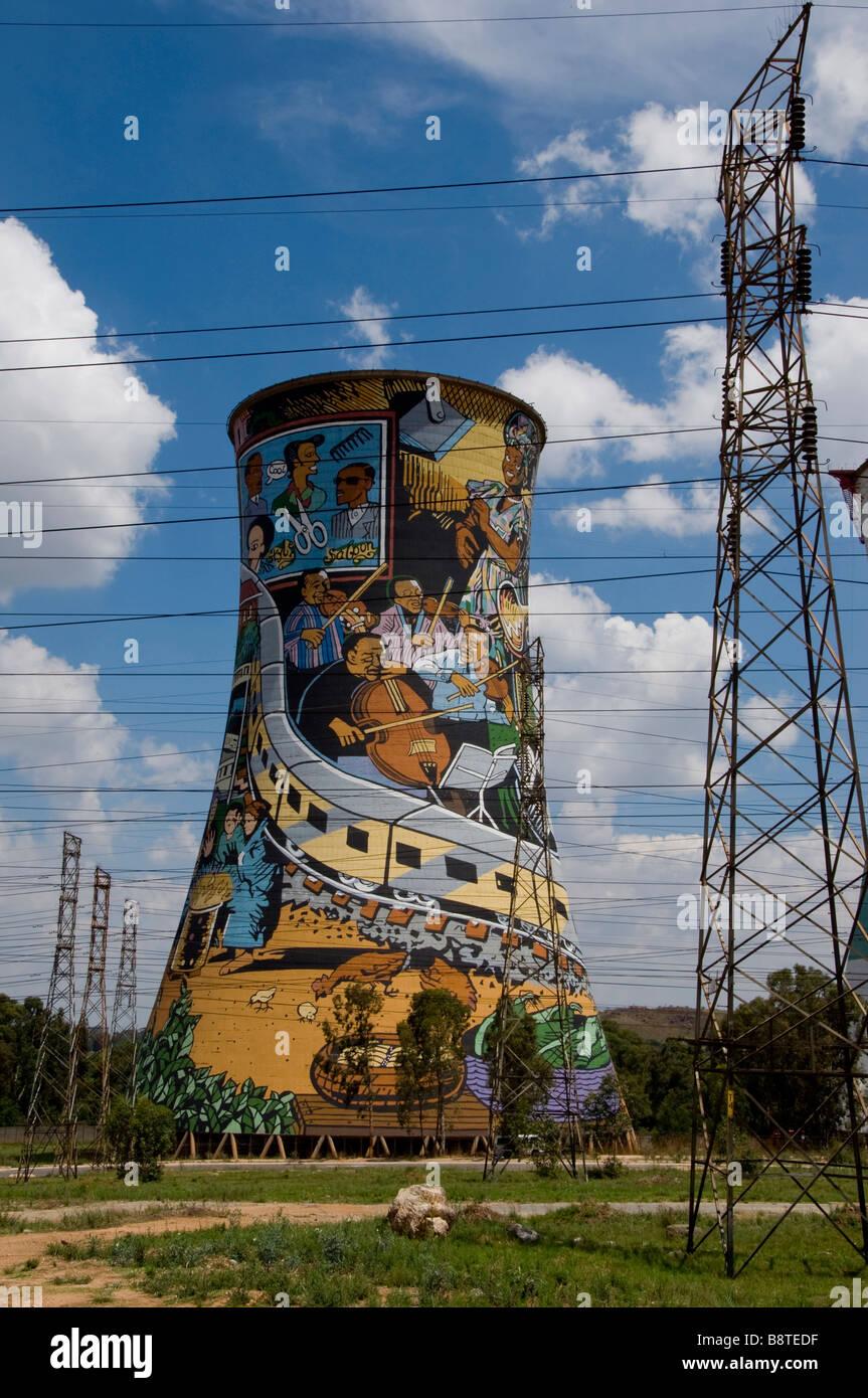 Dipinto di Power Station torre di raffreddamento Soweto Johannesburg Immagini Stock