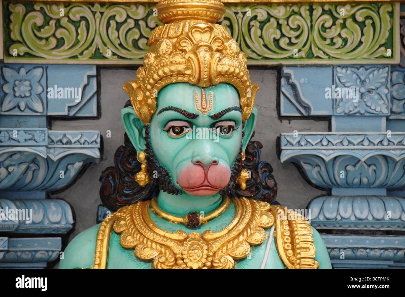 Statua di Hanuman la scimmia dio, una divinità Indù, in Sri Krishnan tempio, Waterloo Road, Singapore. Immagini Stock