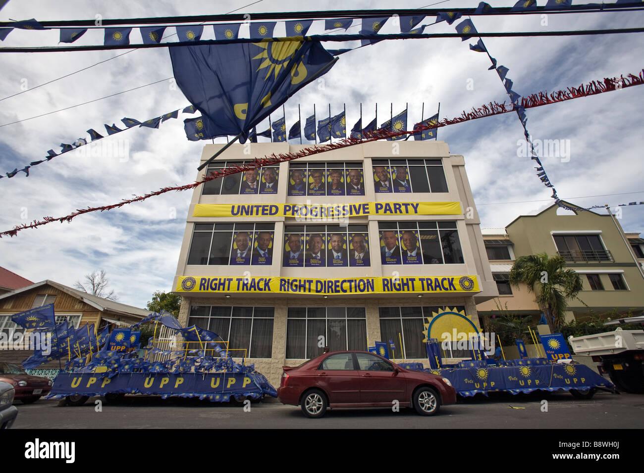United Progressive Party (UPP) Sede di San Johns Antigua Immagini Stock