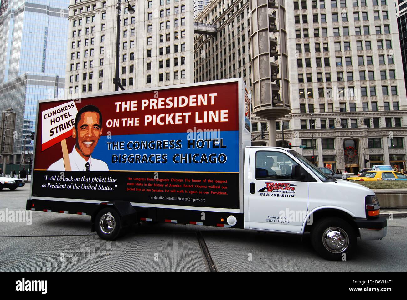 Barack Obama cartello elettorale, Chicago, Illinois, Stati Uniti d'America, America del Nord Immagini Stock