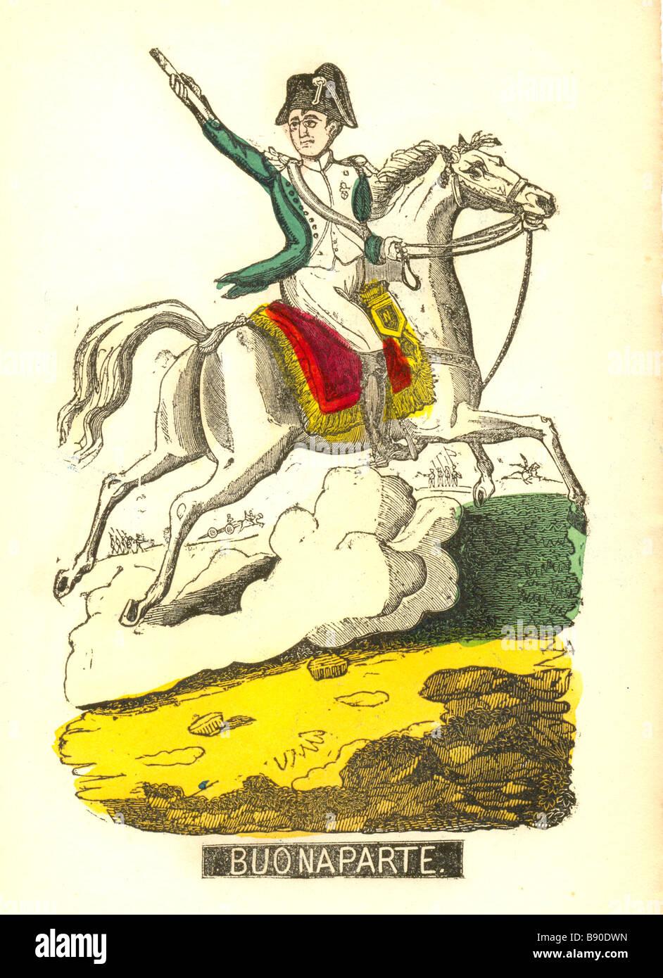 Handcolored xilografia di Napoleone Buonaparte circa 1820 Immagini Stock