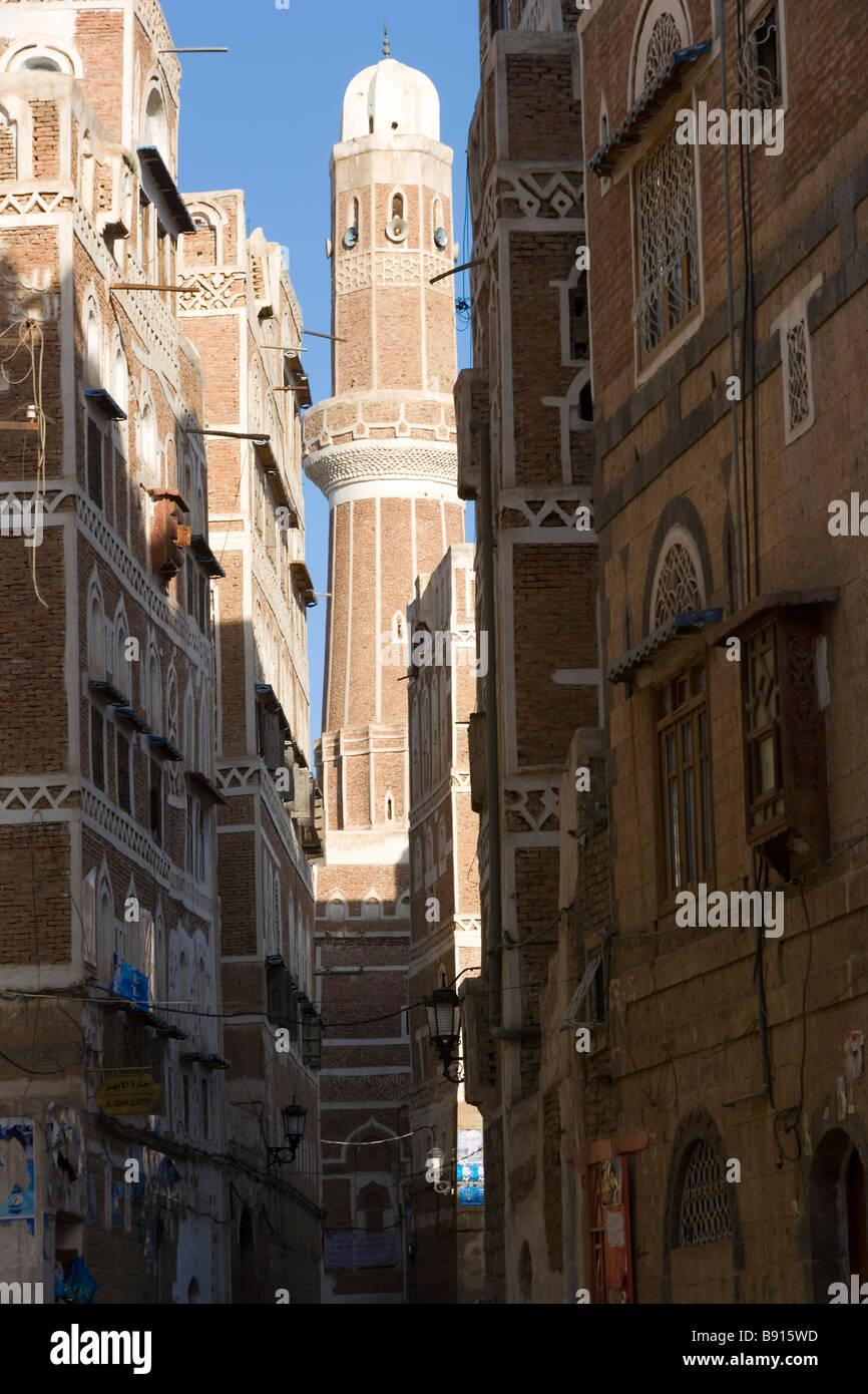 Torre della moschea & edifici circostanti San'a, Yemen Immagini Stock