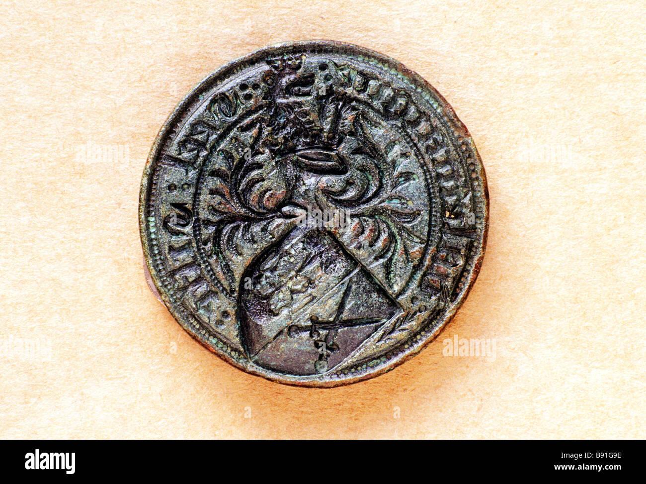 Guarnizione medievale Matrix xv secolo artefatto Inghilterra di rilevamento di metallo storico trova Immagini Stock