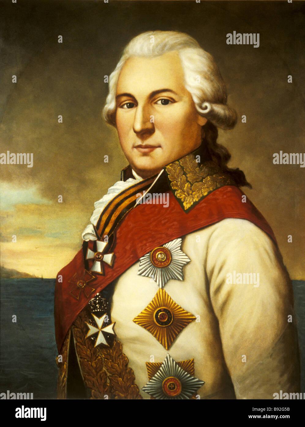 Ritratto di Ammiraglio di Osip Deribas 1749 1800 da un artista sconosciuto della seconda metà del XVIII secolo Immagini Stock