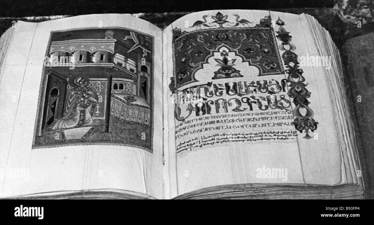 Uno dei primi libri stampati in armeno Immagini Stock