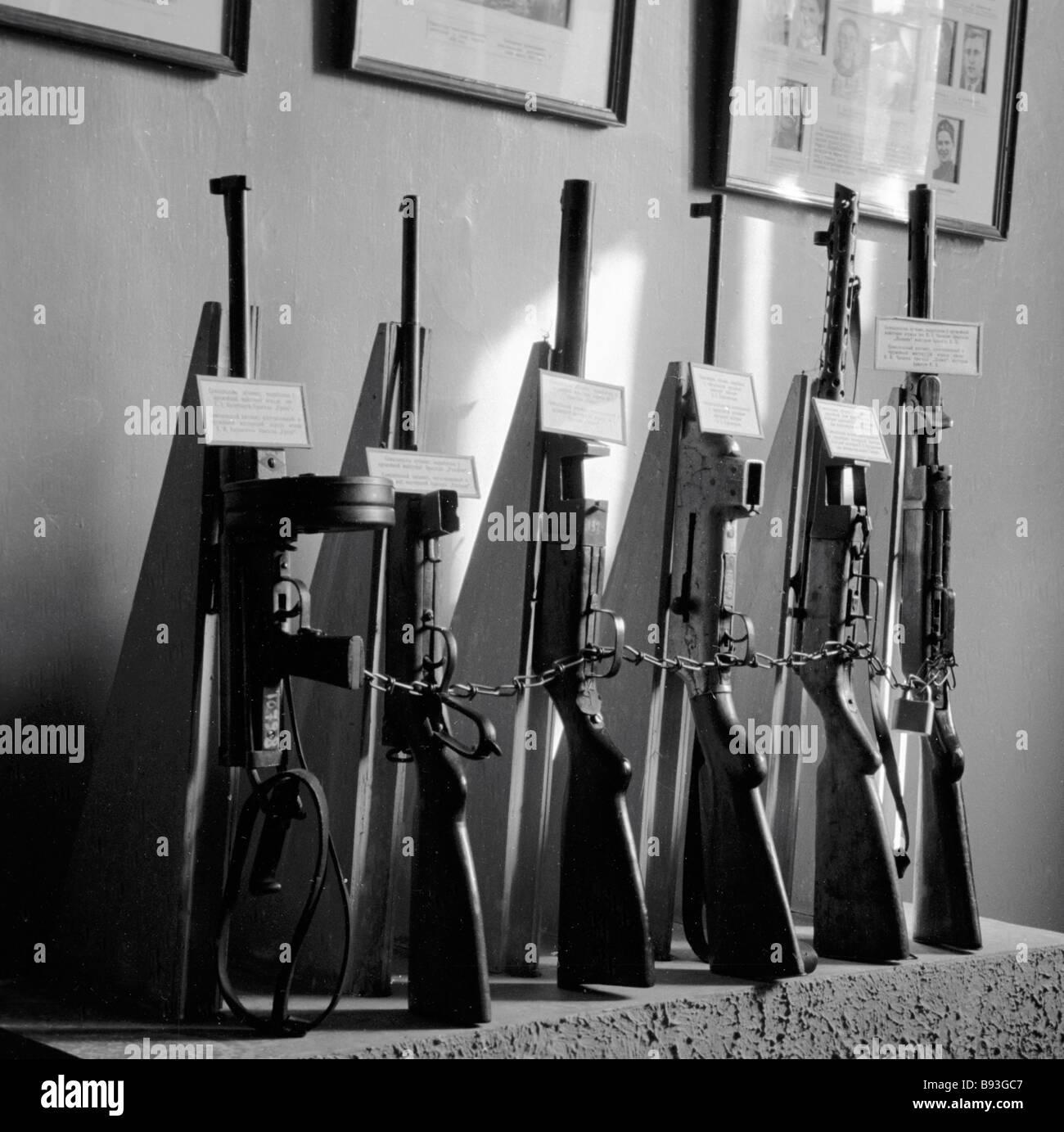 Home armi di guerriglieri bielorussa in esposizione al museo di Minsk Immagini Stock