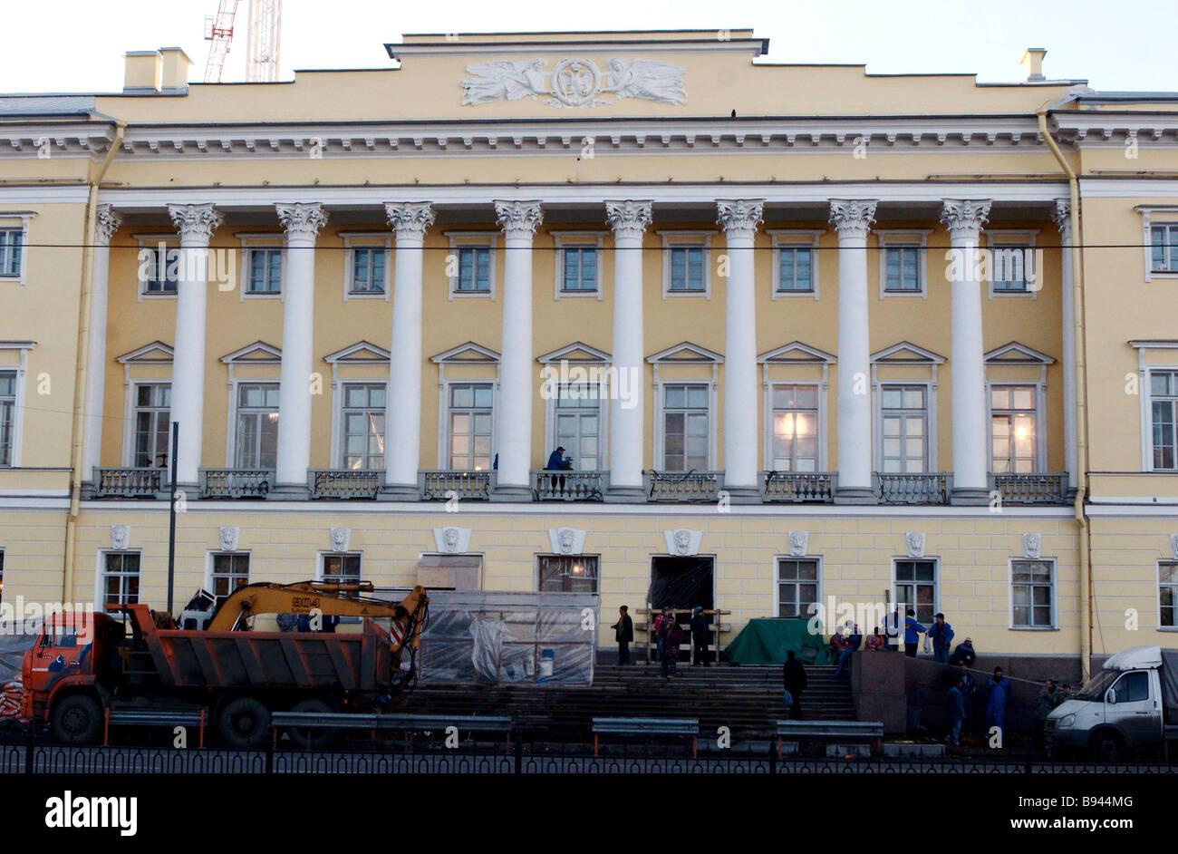 La ricostruzione è quasi terminata presso il Senato e Sinodo building a San Pietroburgo la Corte costituzionale Immagini Stock