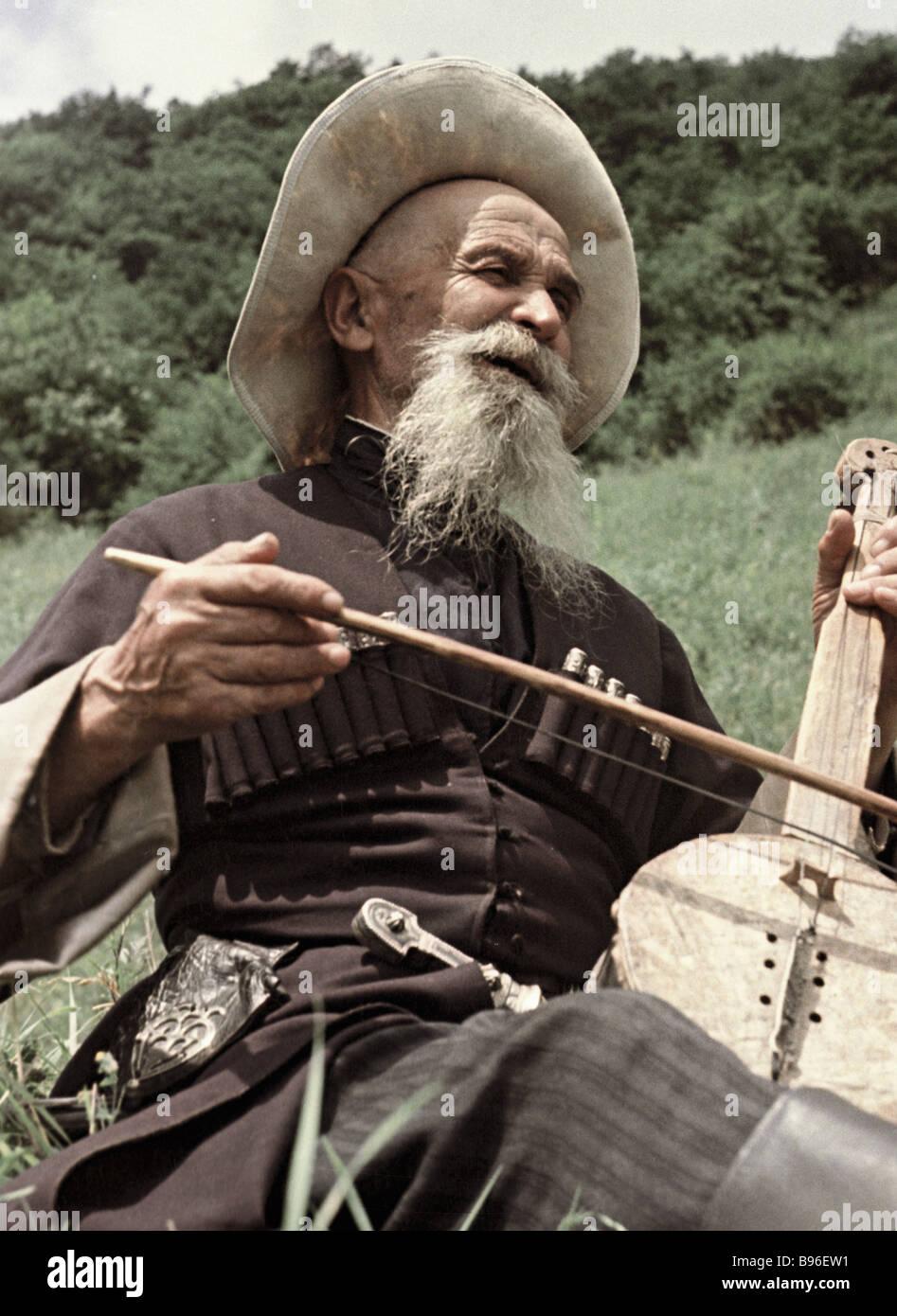 Dris Tautiyev il più antico racconto popolare teller in Ossezia Immagini Stock