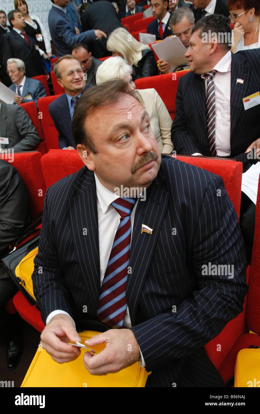 Gennady Gudkov il leader del Partito popolare partecipando ad un congresso del proprio partito in Russia Immagini Stock