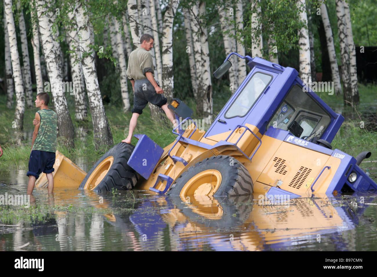 Conseguenze dell'uragano in Tatarstan Foto Stock