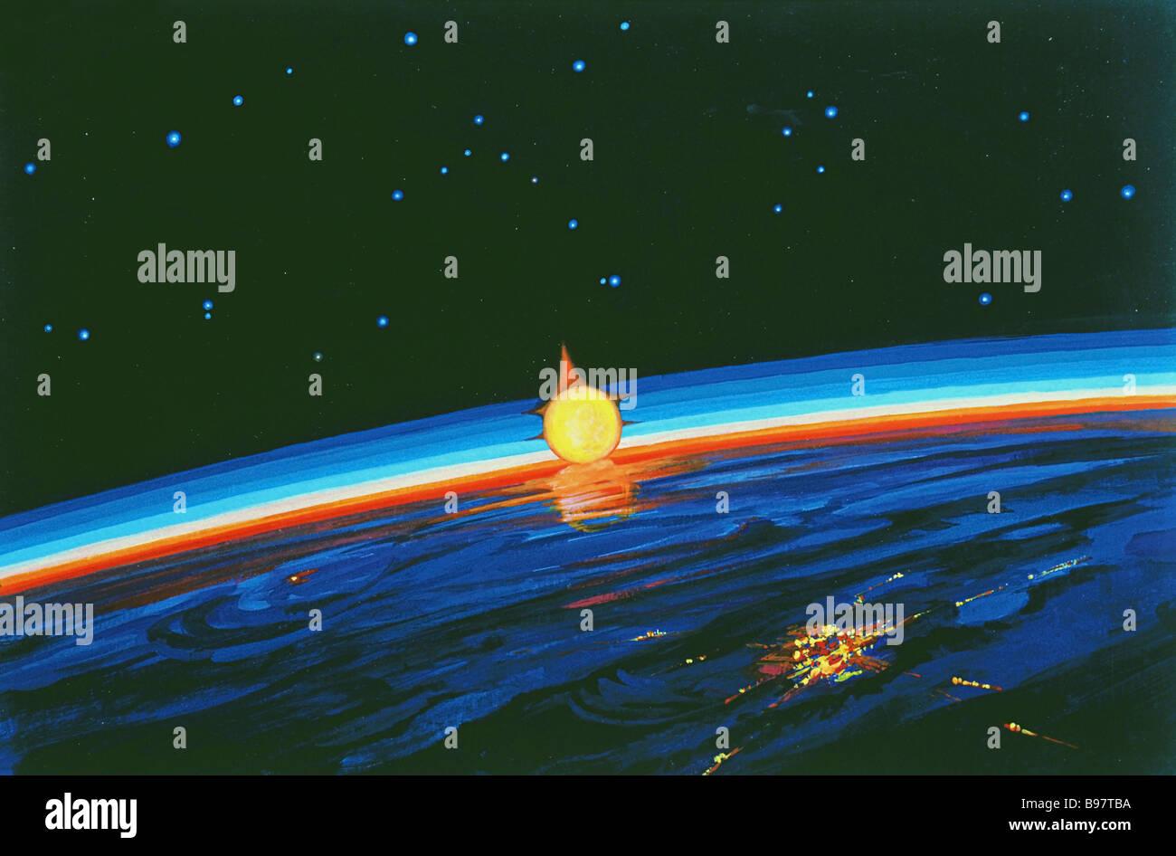Sunrise nello spazio gouache su cartone un dipinto da Alexei Leonov cosmonaute sovietico e artista Immagini Stock