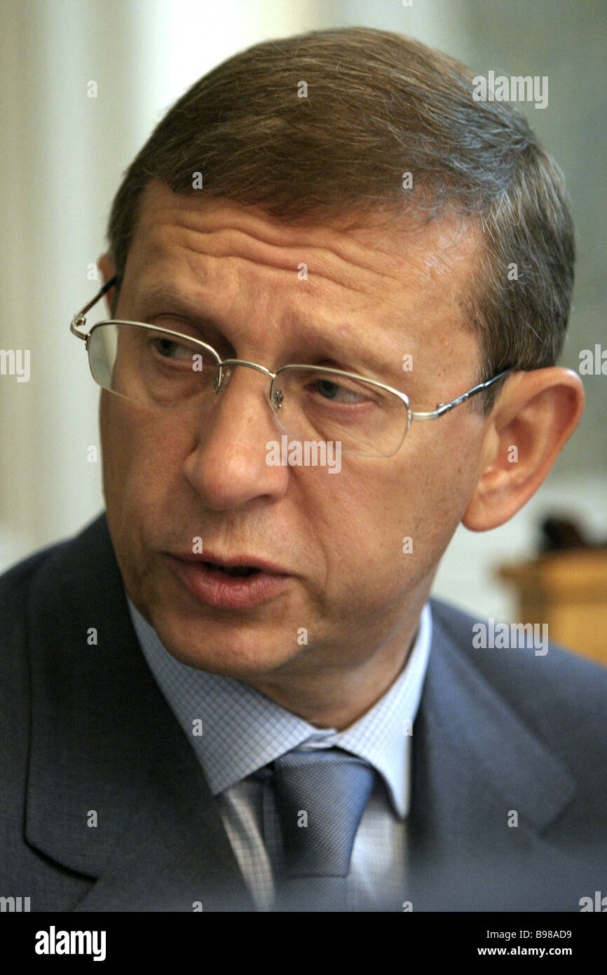 AFK Sistema Vladimir Yevtushenkov ha tenuto una conferenza stampa a Mosca Immagini Stock