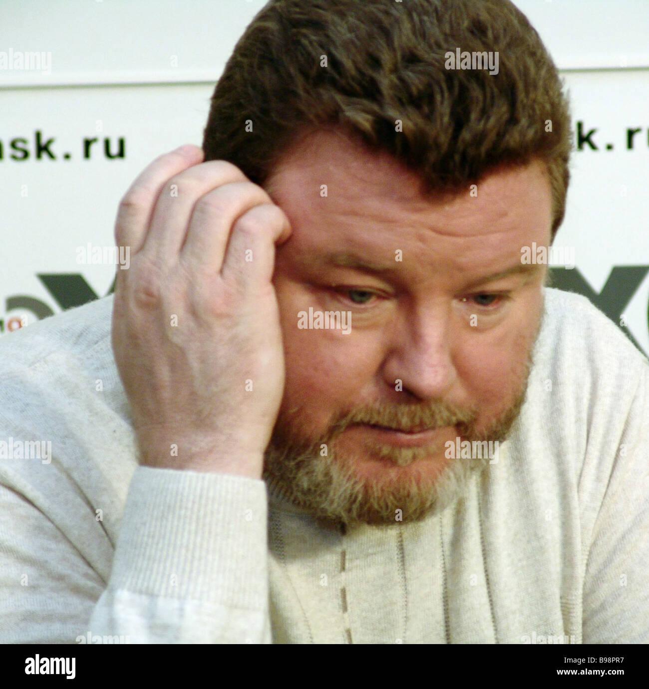 Governatore di Altai territorio Mikhail Yevdokimov ha tenuto una conferenza stampa presso l'Ekho Moskvy stazione Immagini Stock
