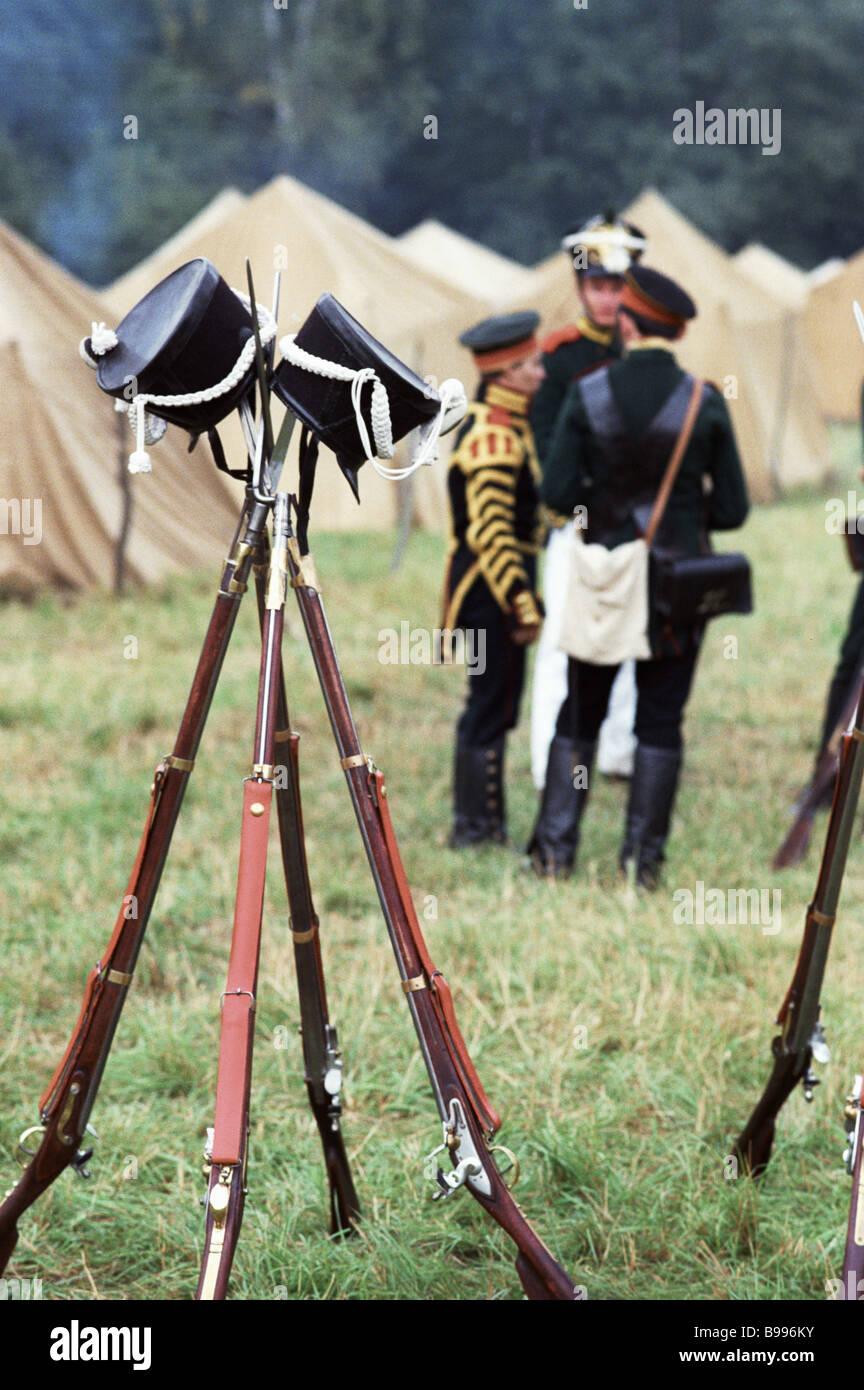 Tradizionale festa militare museo storico preservare dedicata alla battaglia di Borodinò nel 1812 Immagini Stock