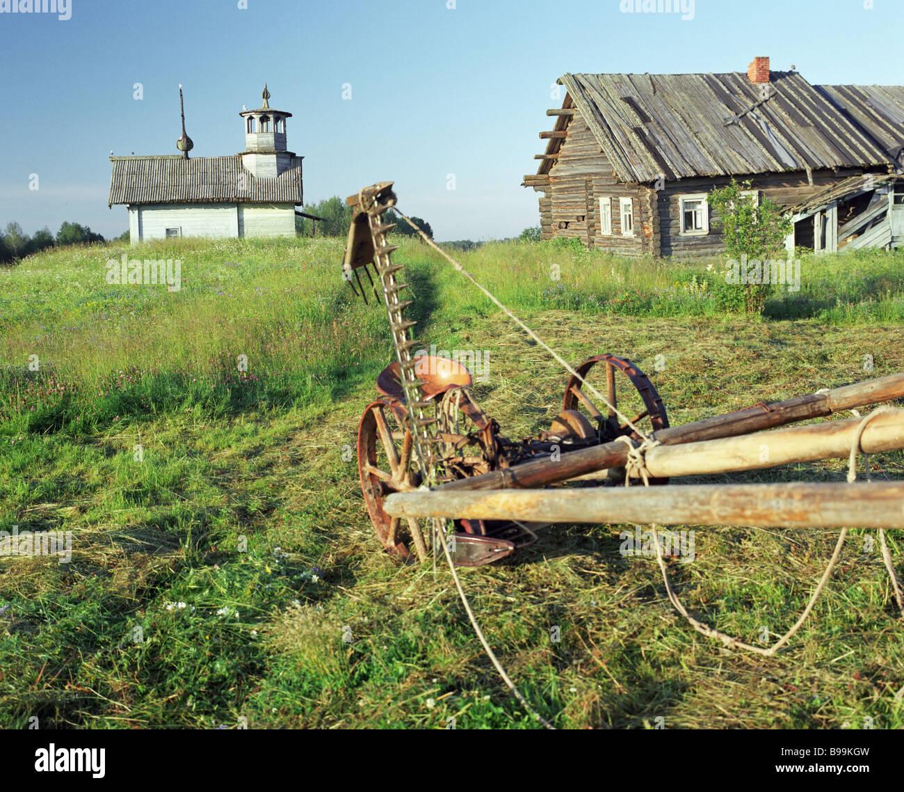 Xviii secolo la cappella di legno nel villaggio Bukhalovo Arkhangelsk Regione Immagini Stock