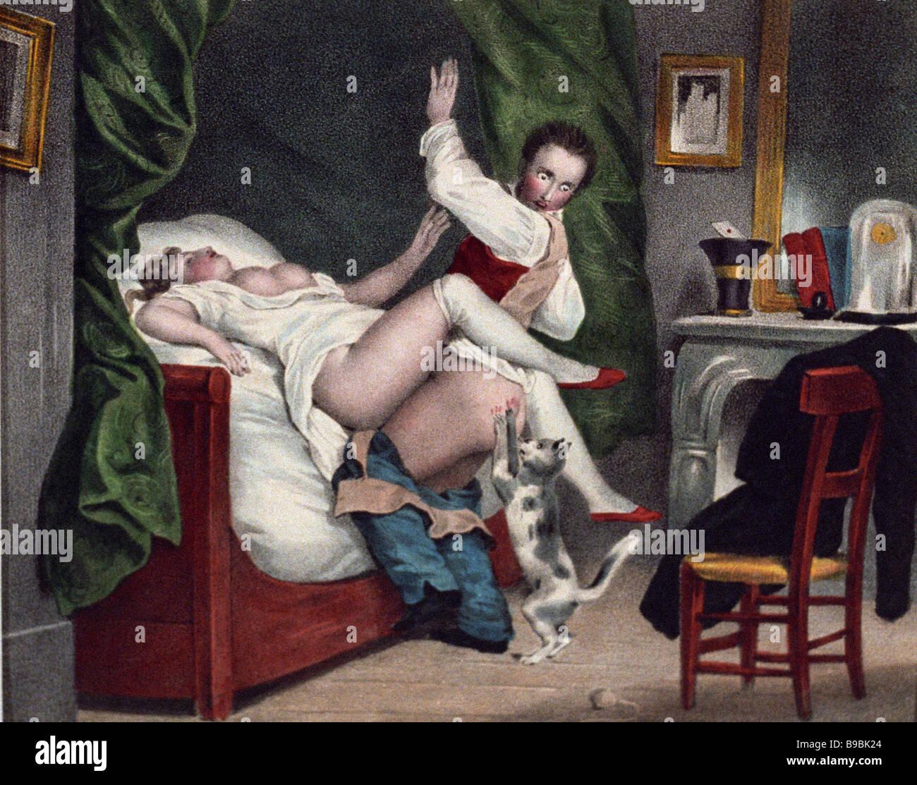 Il francese del XIX secolo la riproduzione di litografia Immagini Stock