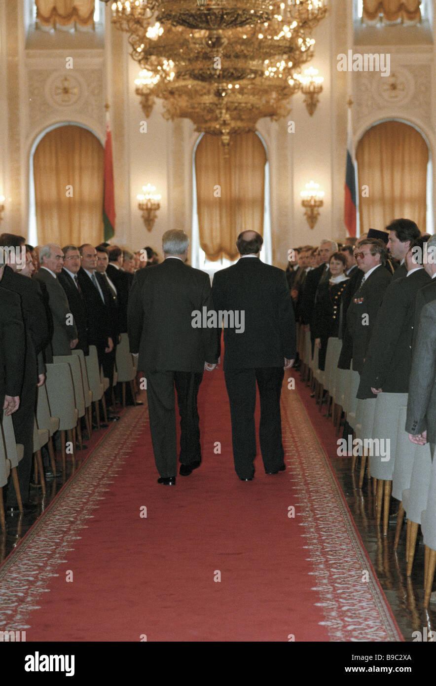 Una cerimonia di firma del trattato sullo sviluppo di integrazione tra Russia e Bielorussia dai presidenti Boris Immagini Stock