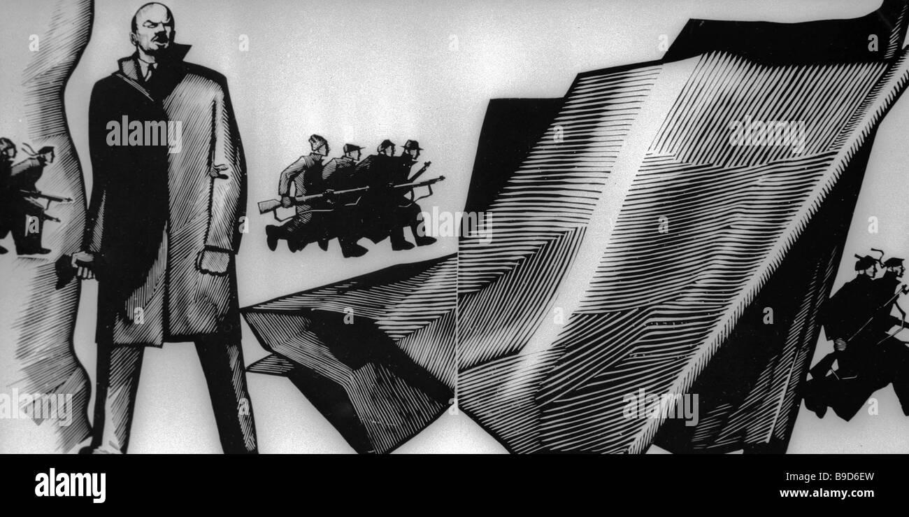 Uno di Dmitri Bisti s illustrazioni di Vladimir Mayakovsky s lungo poema Vladimir Ilyich Lenin Immagini Stock