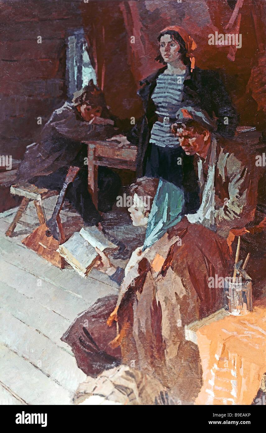 Roman Kudrevich prima prova Olio su tela 1963 Stato bielorusso Art Museum il dipinto rappresenta un dramma amatoriale Immagini Stock