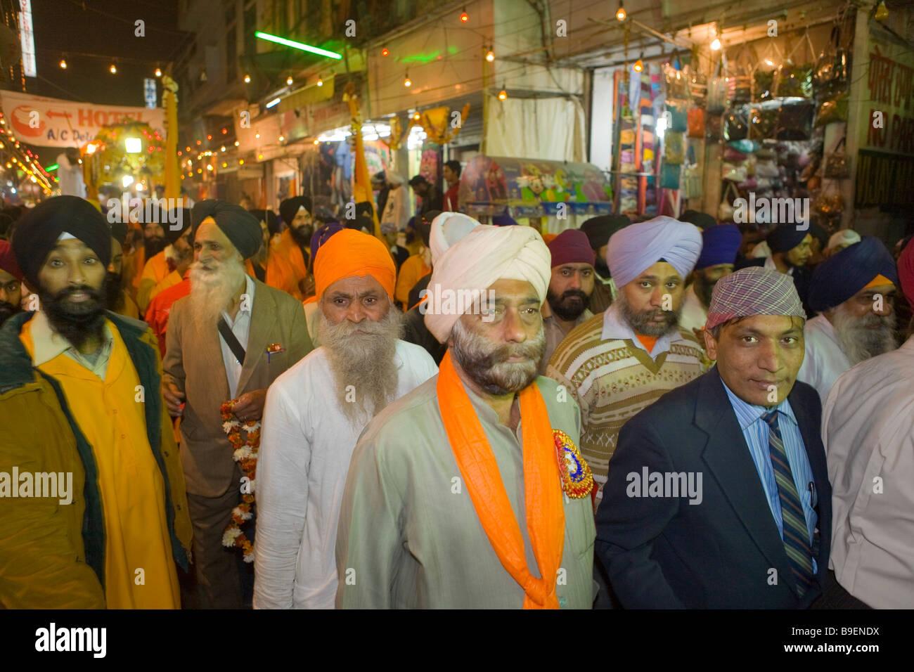 India Delhi festival Sikh nel bazar principale Immagini Stock