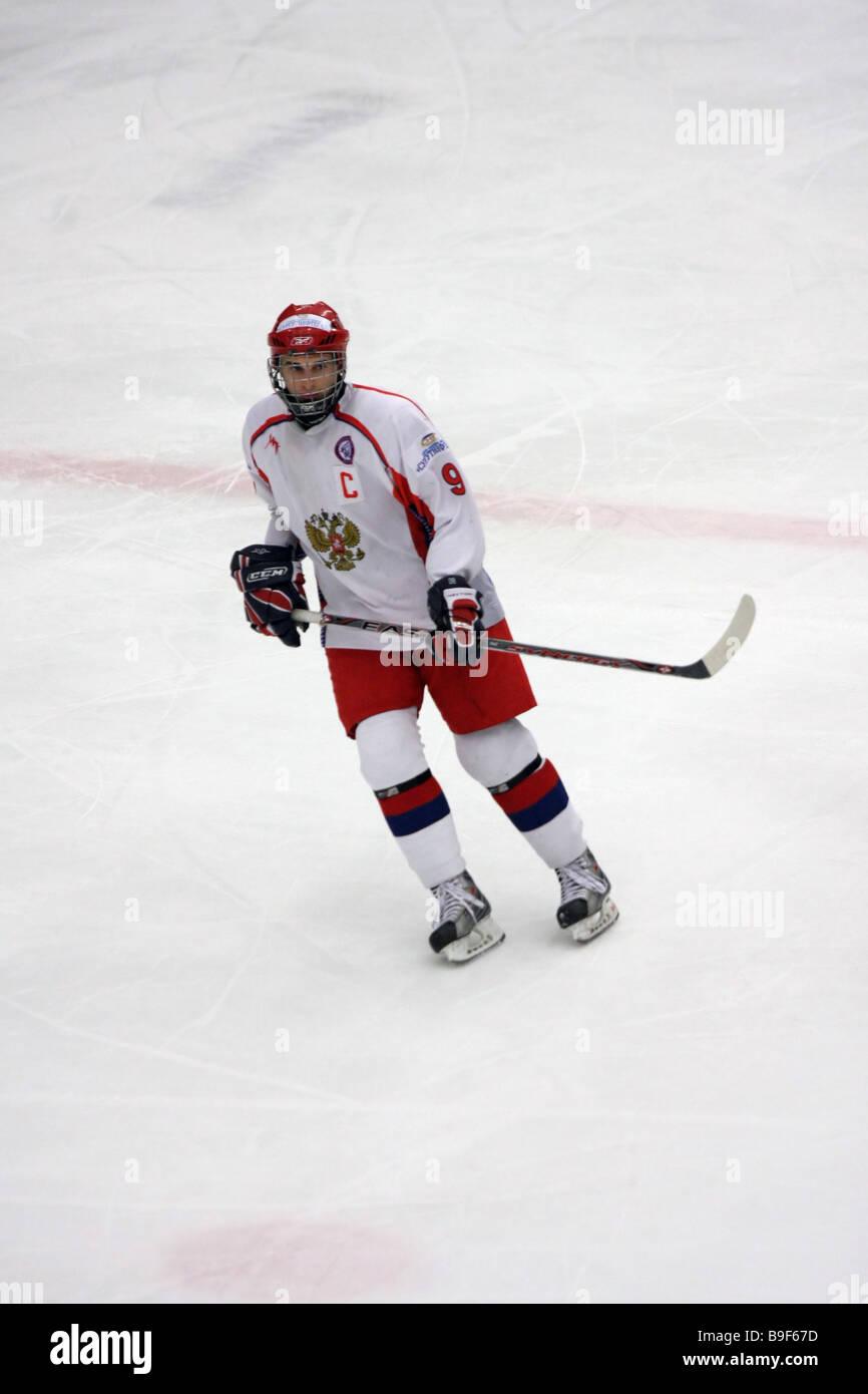 Federazione hockey su ghiaccio giocatore n. 9 Sergey Chvanov Immagini Stock